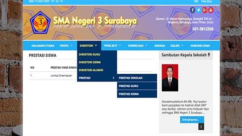 Halaman Prestasi Website SMA Negeri 3 Surabaya