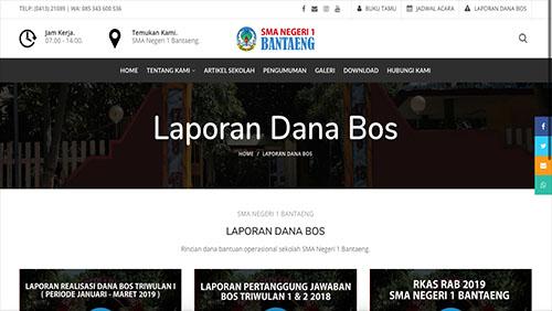 Halaman Laporan Dana BOS Website SMA Negeri 1 Bantaeng